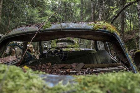 wreck: view through a car wreck