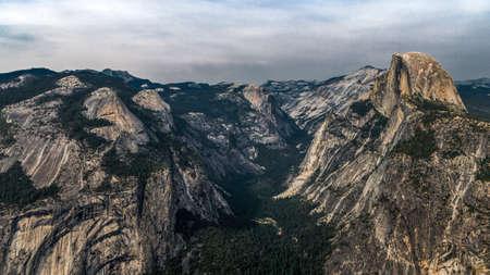 granite park: The granite rock Half Dome in Yosemite National Park Stock Photo