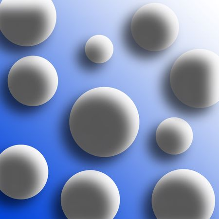 uniformity: abstract white balls on blue background Stock Photo