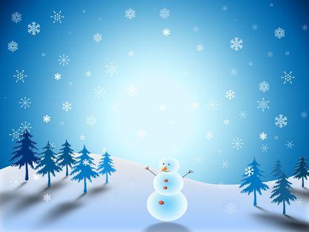 snowman in winter landscape Stock Photo - 5720978