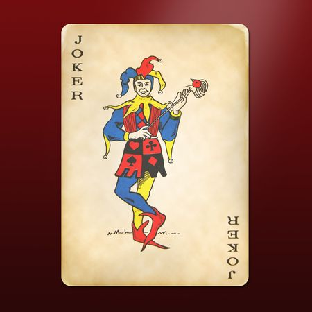 joker playing card: antique and multi-used joker Editorial