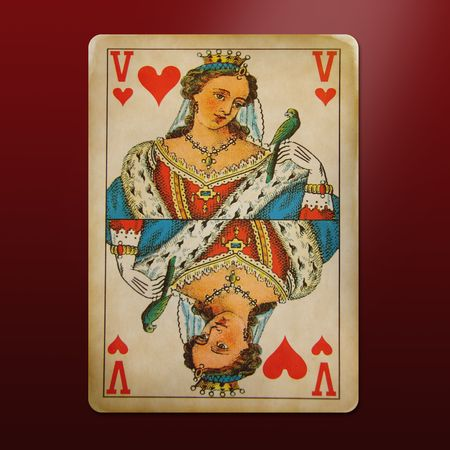 playing with money: antique and multi-used queen of hearts Editorial