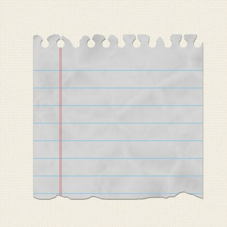 piece of torn notebook paper on canvas background Stock Photo - 5721052