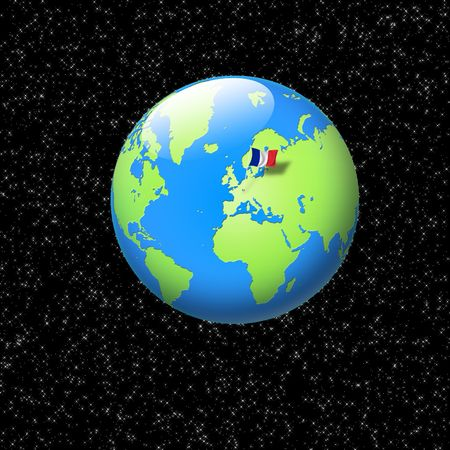 world globe with french flag planted on it photo