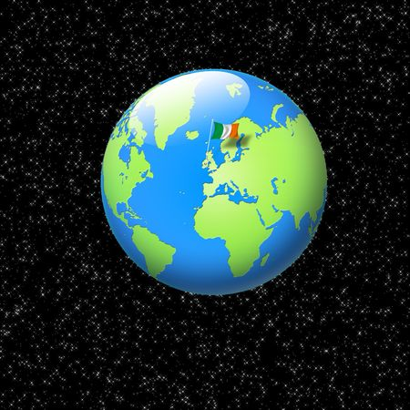 world globe with irish flag planted on it Stock Photo - 6198741