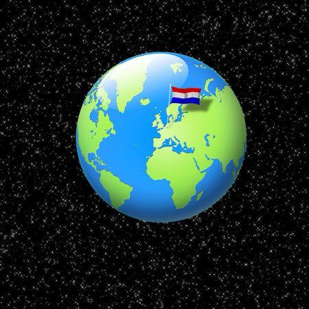 world globe with dutch flag planted on it photo