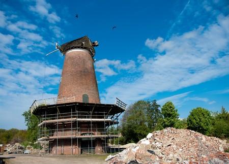restauration: Dutch mill being restaurated Stock Photo