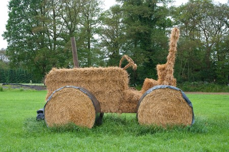 tractor made from hay bales and rolls photo