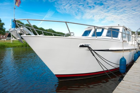 buoys: yacht for sale on the river Vecht in the Netherlands
