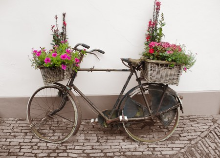 old bike: decorated bicycle