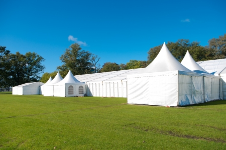 lawn party: large white tent for large events