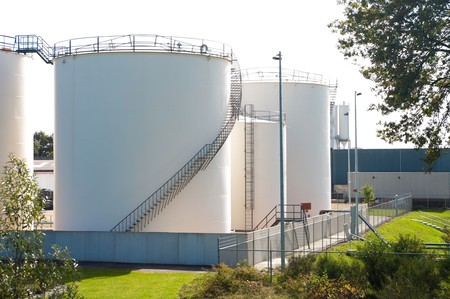 storage compartment: silos used for storage of gasoline Stock Photo