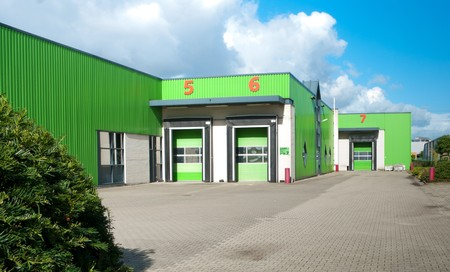 warehouse with docks for loading and unloading trucks photo