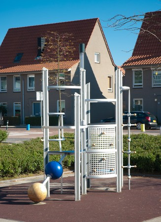modern climbing frame on a kids playground