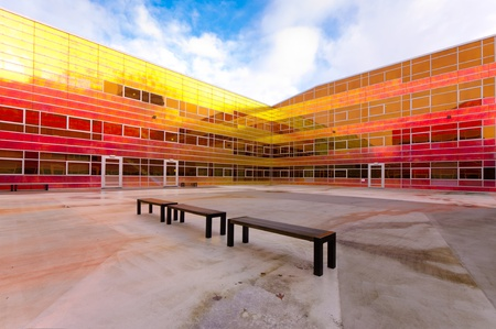 colorful building of the UWV, the governmental employee insurance company in the Netherlands.  Stock Photo