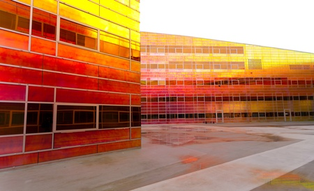 colorful building of the UWV, the governmental employee insurance company in the Netherlands.  photo