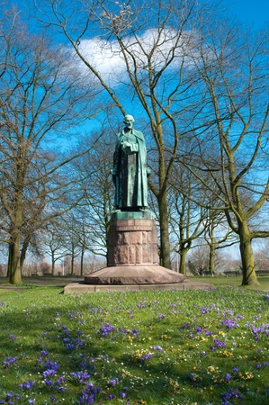 catechism: statue of st Petrus Canisius (8 May 1521 � 21 December 1597), an important Jesuit who fought against the spread of Protestantism in Germany, Austria, Bohemia, Moravia, (Czech Republic), and Switzerland. Stock Photo