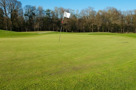 golf course with white flag photo