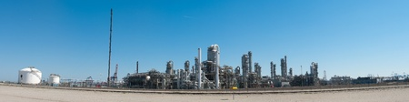 distill: panorama shot of an oil refinery at the rotterdam harbor Stock Photo