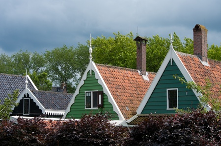 facades of traditional dutch houses in the Zaanse Schans, north of amsterdam Stock Photo - 10085999