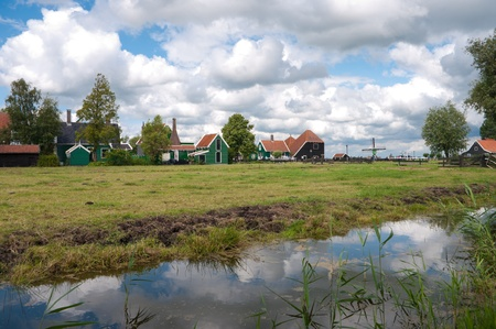 historical houses at the zaanse schans, north of amsterdam
