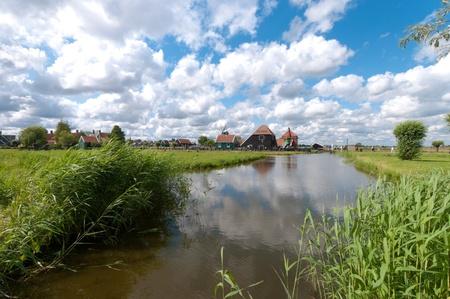 typical dutch polder landscape north of amsterdam