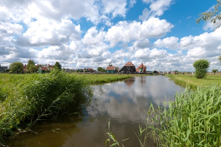 typical dutch polder landscape north of amsterdam