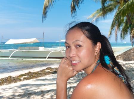 filipina: philippine woman on a beach Stock Photo