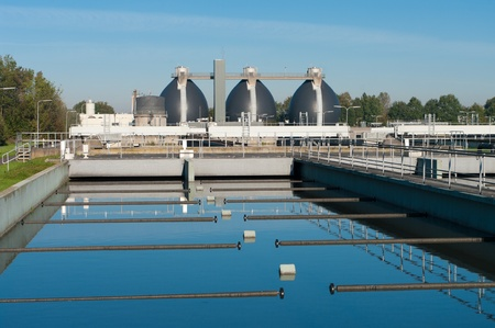 water treatment: bassin where the wasted water is being filtered