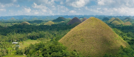 panoramic view over the famous chocolate hills on Bohol, Philippines. They are also featured in the provincial flag  photo
