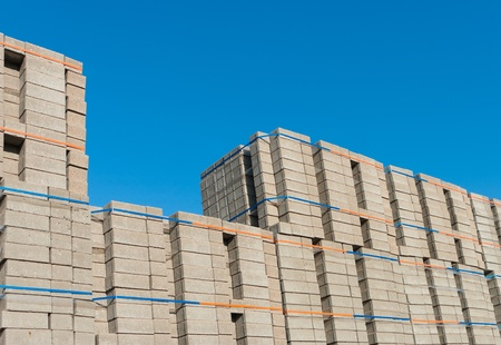 concrete block: highly piled up bricks ready for transport