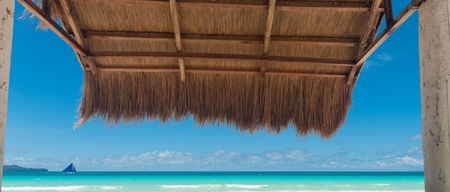 palapa: shelter made of natural materials on a tropical beach