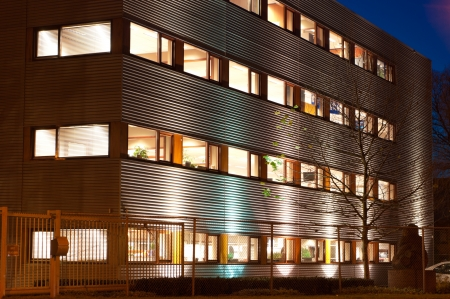 modern office building at evening Stock Photo