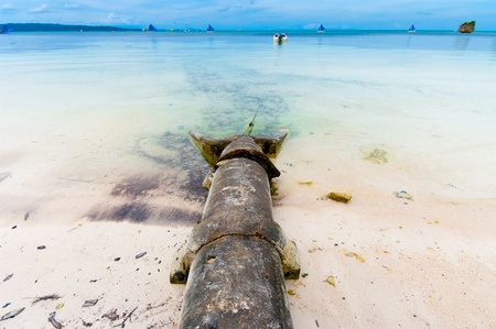 polluting: sewer coming out in a blue tropical sea in Philippines