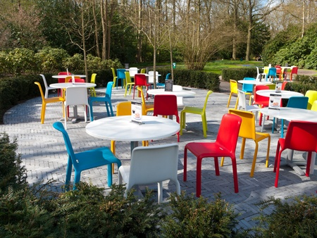 chairs in many different colors outside of a restaurant Stock Photo - 13047231
