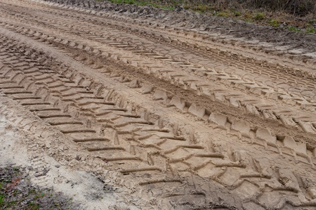 lots of tractor tracks in the sand photo