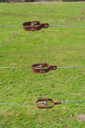 three barbed wire tensioners in front of a grass background photo