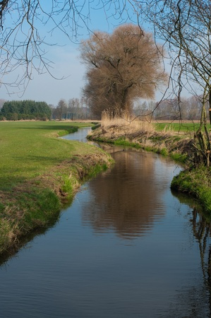 small brook flowing through an agricultural landscape Stock Photo - 13498037