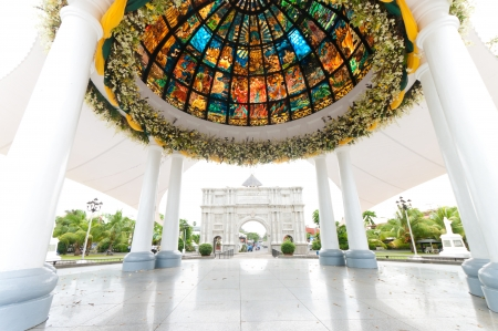 pavilion with stained glass in front of the Naga metropolitan cathedral in Naga City, Philippines photo
