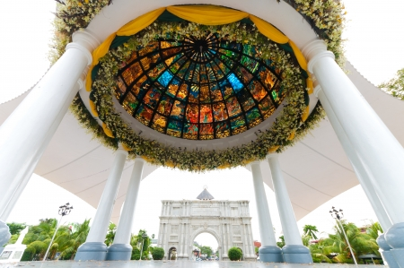 pavilion with stained glass in front of the Naga metropolitan cathedral in Naga City, Philippines Stock Photo - 13619994