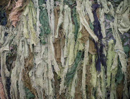 strips of green and brown camouflaged jute photo