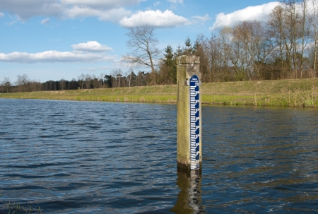 ruler indicating the height of the water above sea level  NAP  in the netherlands photo