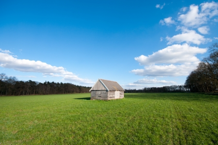 small barn in the middle of a field photo