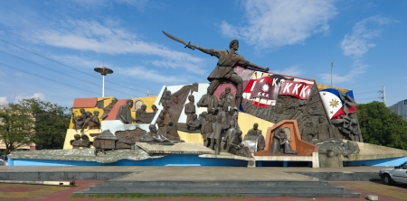 Andres Bonifacio Shrine located near the Manila City Hall. The shrine has one big statue of Andres Bonifacio carrying a bolo. The shrine shows the life story of the Philippine hero from his childhood to his death at the hands of Emilio Aguinaldos minions