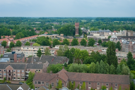 view over Oldenzaal, a dutch town with in the middle an ancient water tower