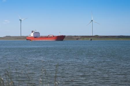 ijmuiden: Red tanker entering the North Sea Canal at IJmuiden, Netherlands