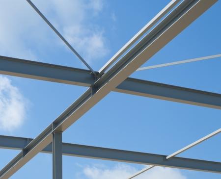 industrial building construction of steel framework photo