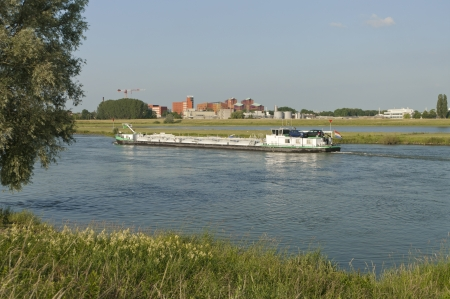 tanker barge on IJssel river in the Netherlands photo