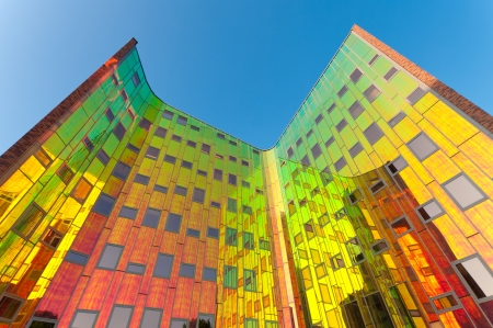 colorful facade of a modern office building in Deventer, Netherlands