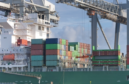 rotterdam: container ship being unloaded in Rotterdam harbor